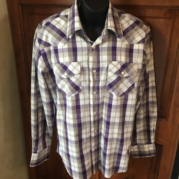 Cowboy Up Other - Cowboy Up Western Pearl Snap Shirt Purple & Gray